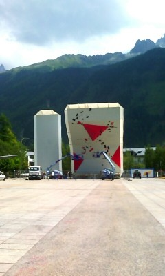 Climbing wall place Mont-blanc
